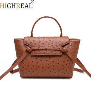 Image 1 - HIGHREAL New Customized Luxury Brand Design Women Ostrich Leather Tote Bag Clutch Tote Shoulder Bag Trendy Bag