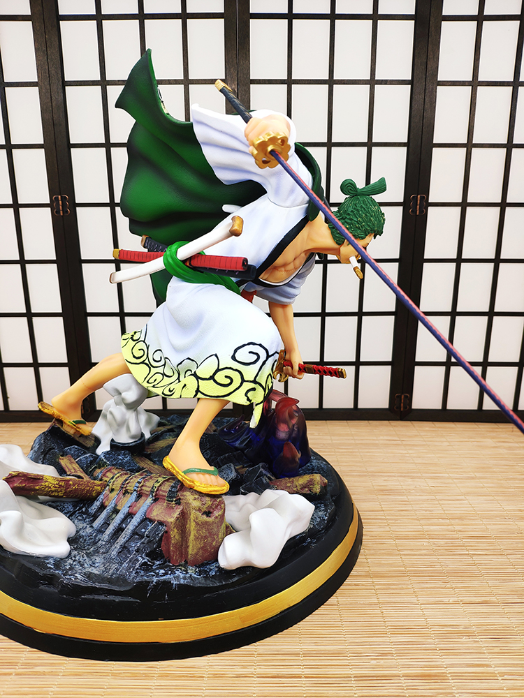 Free Shipping Anime One Piece Kimono Roronoa Zoro Battle Ver. GK Statue Three Thousand World Effect Action Figure Xmas gift B19 2