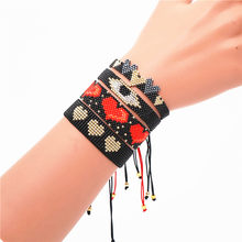 GRAPES Turkish Evil Eye Bracelet MIYUKI Red Heart Bracelet For Women Boho Jewelry Pulseras Mujer New Tassel Handmade Design(China)