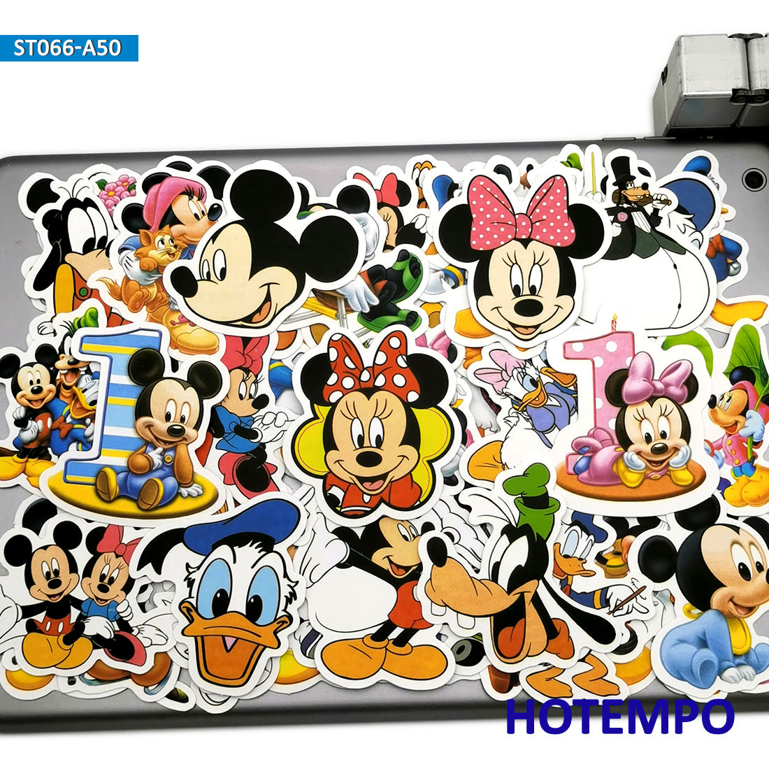 50pcs Cute Minnie Mickey Anime Stickers Toys For Children Kids Scrapbook Stationery Mobile Phone Laptop Suitcase Decal Stickers
