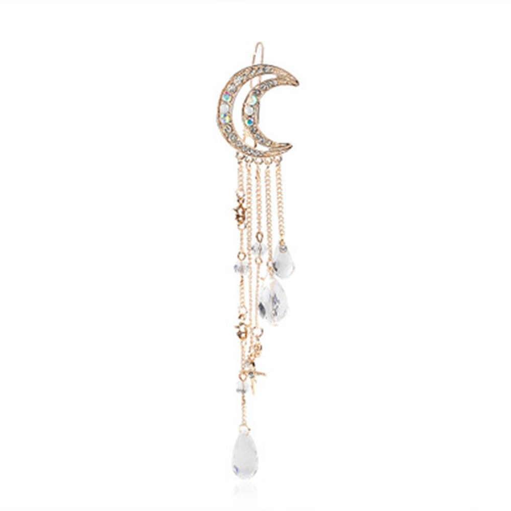 Hot Fashion Elegante Frauen Damen Mond Crescent Haar Clip Kristall Strass Anhänger Haarnadel Haar Clip Zubehör Für Mädchen