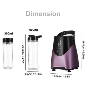 300W Multifunction Portable Electric Fruit Blender Kitchen Vegetables Food Processor Milkshakes Mixer Juicer 600ml + 300ml Cups 2