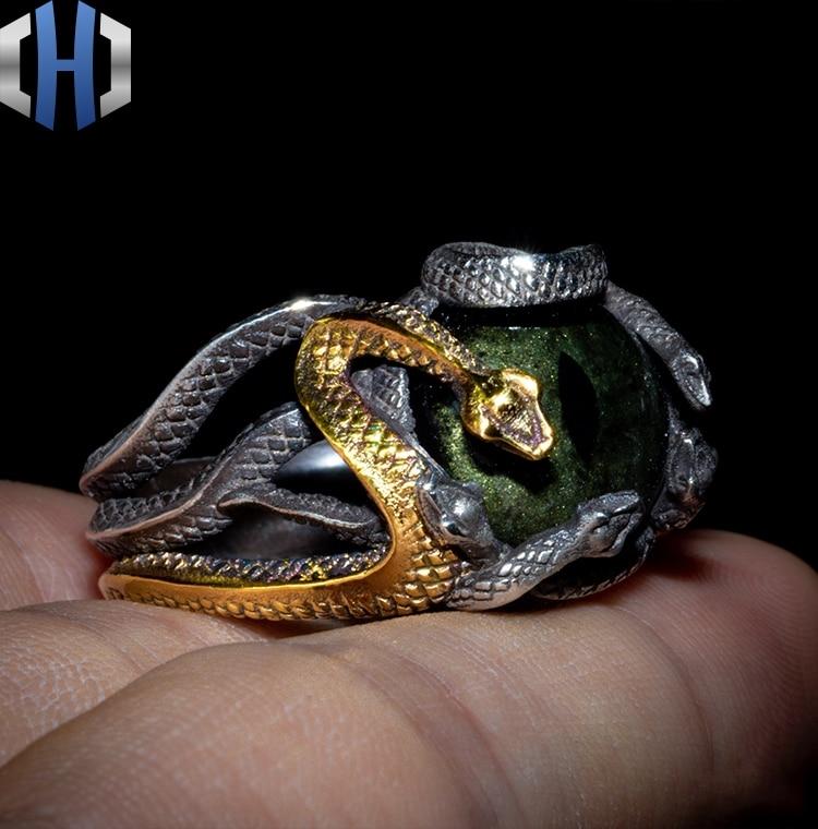 Original Design 925 Silber Schlange Ring Männlichen 24K Gold Schlange Ring Persönlichkeit Hüfte Hop Index Finger Ring Flut - 2