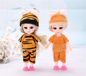 New Bjd Doll 16cm 13 Movable Joints Fashion DIY Dress Up Baby Mini Body with 3D Eyes 1/12 Doll Clothes Suit Toys for Girls Gift fashion sd bjd doll girls doll with clothes blue eyes 18 inch cute princess doll toys for children s new year gift
