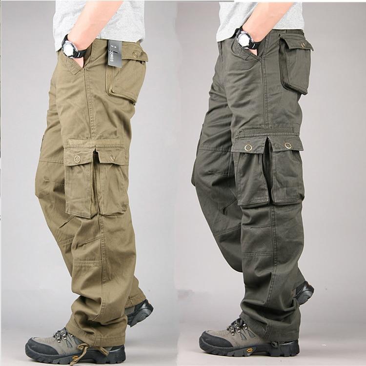 Men's Cargo Pants Cotton Casual Long Trousers New 2019 Plus Multi Pocket Pantalon Homme Men Fashion Military Tactical Pants Men