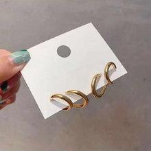 Модные двойные круглые серьги кольца специальный дизайн сверху