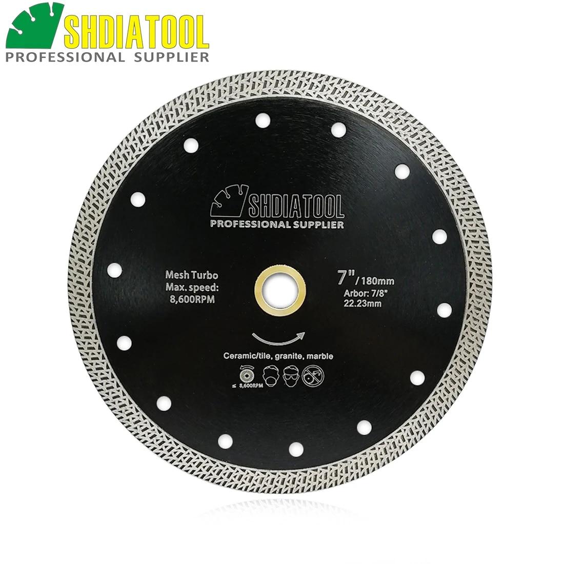shdiatool 1pc dia 180mm 7 hot pressed sintered diamond cutting disc mesh turbo diamond saw blade granite marble tile ceramic