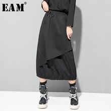 [EAM] 높은 탄성 허리 블랙 Drawstring 분할 공동 기질 하프 바디 스커트 여성 패션 새로운 봄 가을 2020 1D732