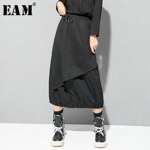 Image 1 - EAM jupe taille haute élastique noir, cordon de serrage, Joint fendu, tempérament demi corps, nouvelle mode pour femmes, printemps automne 2020 1D732