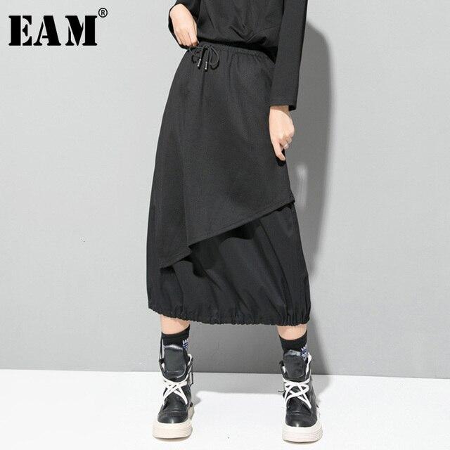 EAM jupe taille haute élastique noir, cordon de serrage, Joint fendu, tempérament demi corps, nouvelle mode pour femmes, printemps automne 2020 1D732