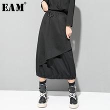 [Eam] cintura elástica alta cordão preto divisão conjunta temperamento metade do corpo saia feminina moda nova primavera outono 2020 1d732