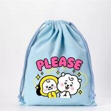 LLBTS Youth League color cartoon cute drawstring canvas bag storage bag drawstring bag toy bag packaging bag