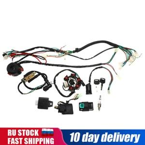 Полный комплект электропроводки CDI, статор, 6 катушек, переключатель зажигания для мотоцикла, квадроцикла, Go Kart 90cc 110cc 125cc, 1 комплект