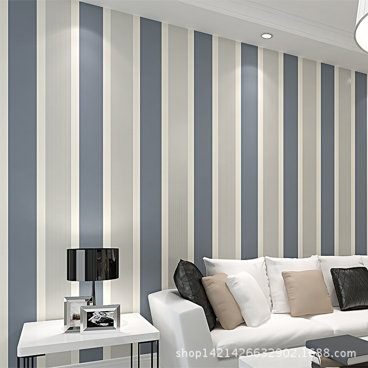 Environmentally Friendly Modern Minimalist Bedroom Living Room Television Background Wall Wallpaper Vertical Striped Non-woven W