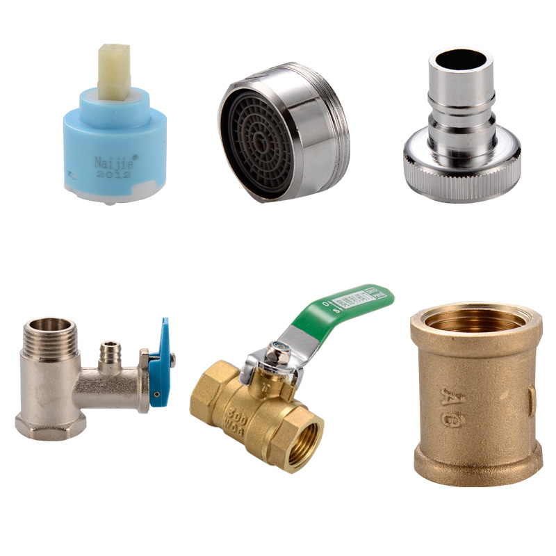 Faucet Ceramic Spool 4 Sub-Copper Double Headed Three Head Joint Filter Spout Plug Copper Outlet Plumbing Accessories