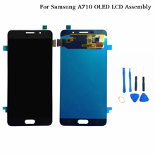 For SAMSUNG GALAXY A7 2016 OLED TFT LCD A710 Display Touch Digitizer Sensor Glass Assembly For SAMSUNG A710F Display 7 touch screen digitizer sensor glass lcd display monitor assembly for lenovo tab 2 tab2 a7 30hc a7 30 a7 30dc