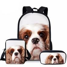 Дети сумка для школы кавалер кинг чарльз спаниель собака 3D печать школа сумки дети 3шт% 2Fset основной книга сумка сумка