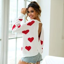 Woman Knitting Sweater New Sexy Long Sleeve Heart Print O-Neck Backless Pullover Tops Autumn Winter Fashion Casual Blouse#A(China)
