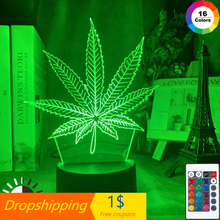 Table-Lamp Nightlight Weed Bedroom Home-Decor Touch-Sensor Battery-Powered Acrylic Usb