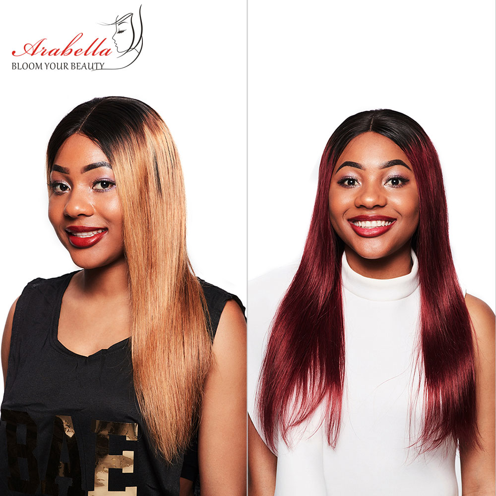 Arabella 1B/27 Straight Hair Lace Front Wig With Baby Hair Pre Plucked Remy Hair 13*4 Lace Front Wig Colored Human Hair Lace Wig