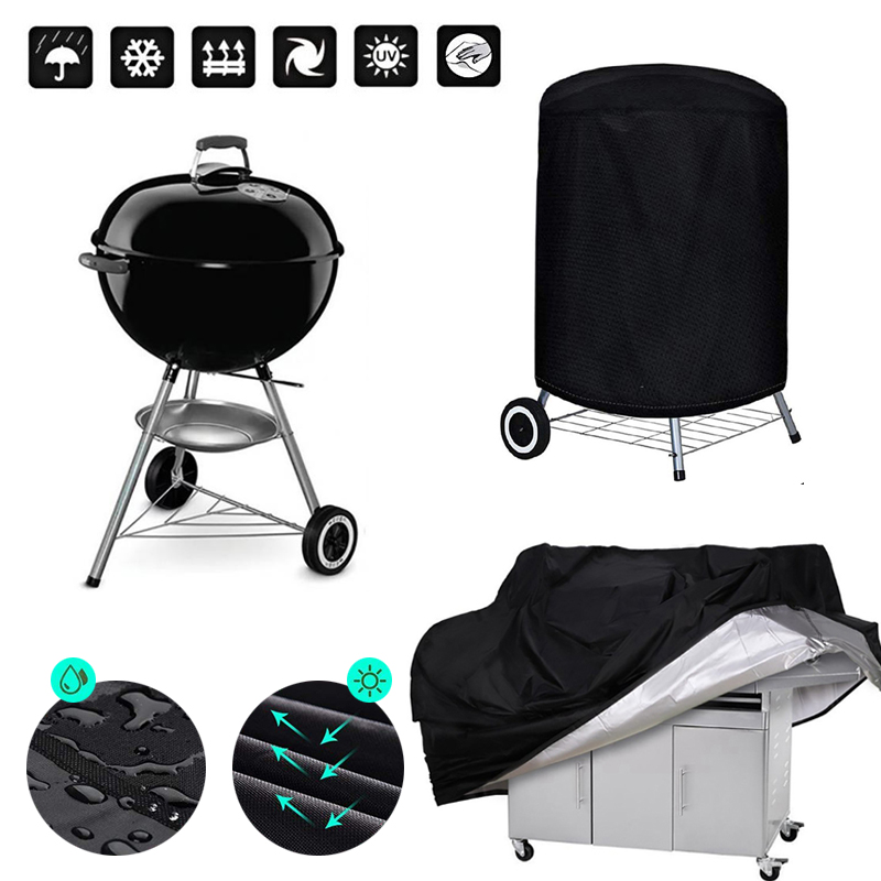 BBQ Cover Outdoor Dust Waterproof Weber Heavy Duty Grill Cover Rain Protective outdoor Barbecue cover round bbq grill black 1