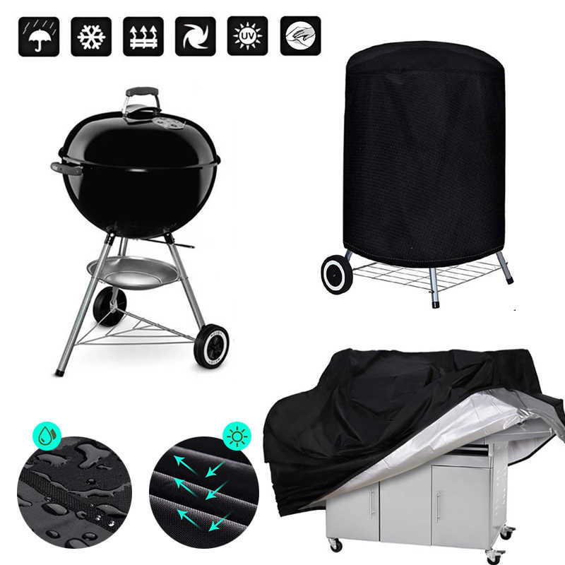 BBQ Cover Outdoor Dust Waterproof Weber Heavy Duty Grill Cover Rain Protective outdoor Barbecue cover round bbq grill black