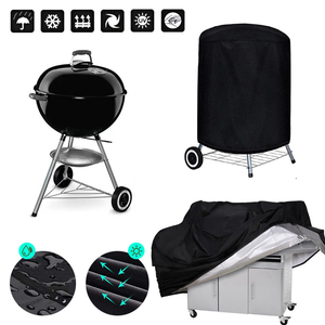 BBQ Cover Outdoor Dust Waterproof Weber Heavy Duty Grill Cover Rain Protective outdoor Barbecue cover round bbq grill black(China)