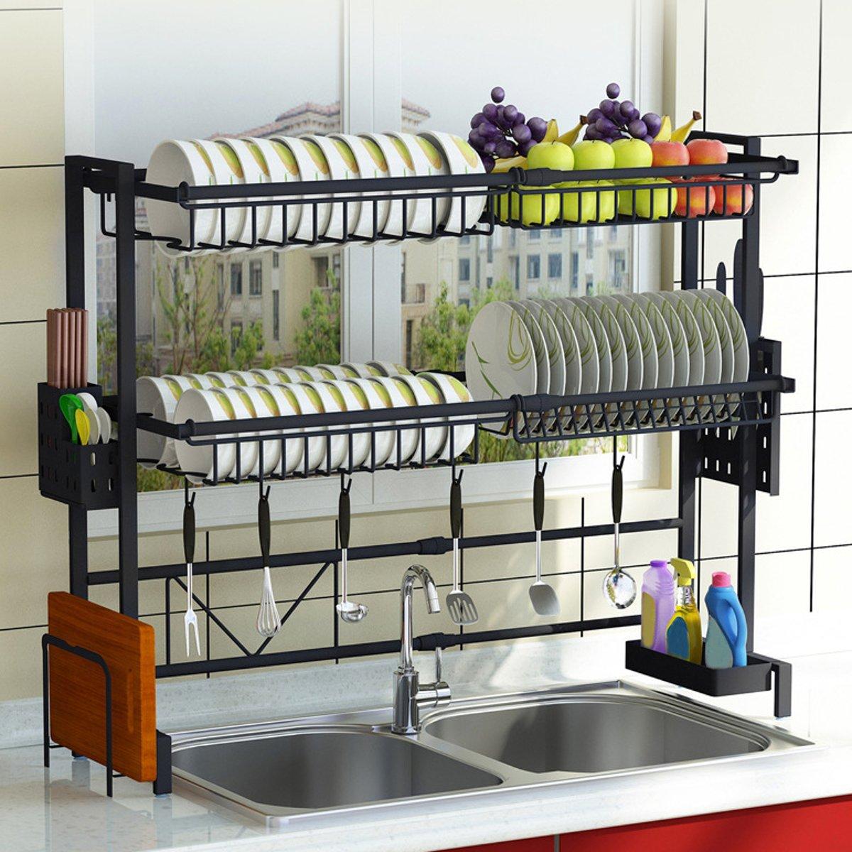 multi use stainless steel dishes rack dual sink drain rack adjustable kitchen oragnizer rack dish shelf sink drying rack 1 2tier