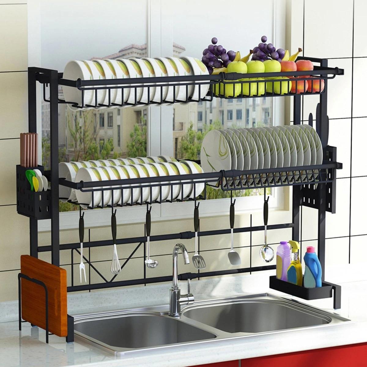 Multi Use Stainless Steel Dishes Rack Dual Sink Drain Rack Adjustable Kitchen Oragnizer Rack Dish Shelf Sink Drying Rack 1 2tier Racks Holders Aliexpress