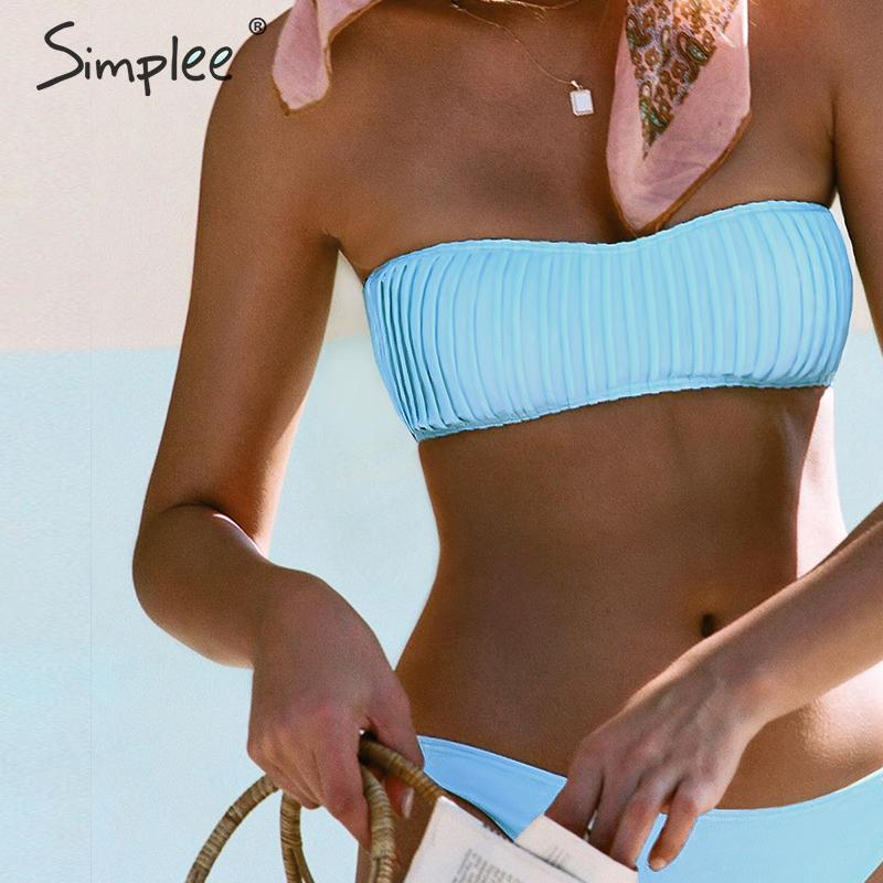 Simplee Casual ruched bikini sets Women bandeau swimwear Solid push up female swimsuit Summer beach Bathers bathing suit 2020