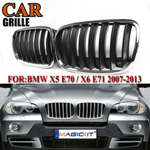 MagicKit 1 Pair Chrome Black Front Bumper Kidney Grille Grill For BMW X5 X6 E70 E71 Car Styling Racing Grills 2007-2013