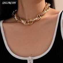 Salircon punk simples grande chunky chain gargantilha colar para mulheres goth minimalista grosso curto colar de jóias presente 2021 tendência