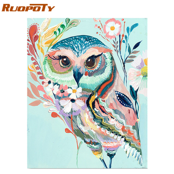 RUOPOTY Frame Colorful Owl Diy Paint By Numbers Kit Animals Handpainted Painting By Numbers Modern Wall Art Canvas Painting Arts ruopoty frame mountain lake diy painting by numbers landscape handpainted oil painting modern home wall art canvas painting art
