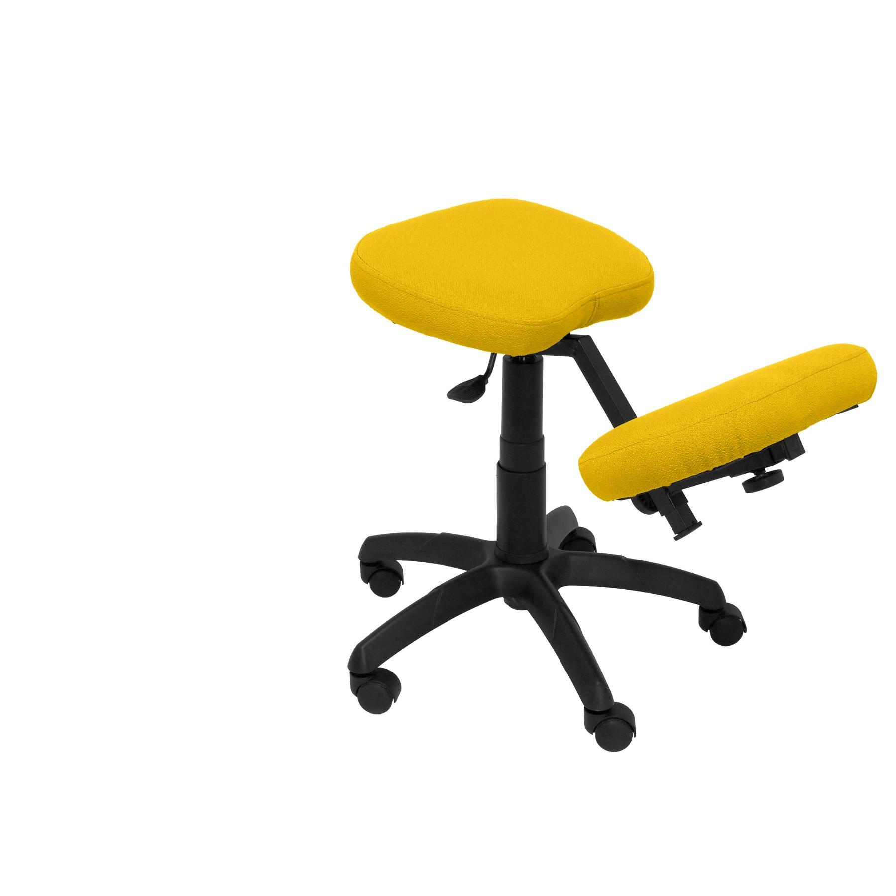 Office's Stool Ergonomic Swivel And Dimmable In High Altitude Up Seat Upholstered In BALI Tissue Color Yellow (RODILLE