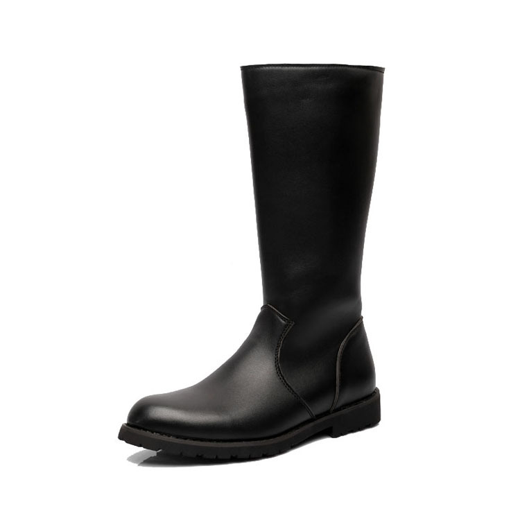 Fashion Waterproof Back Zipper Long Military Boots for Men New Casual Leather Boots Quality Mans Winter Work Shoes