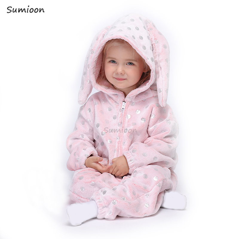 Kigurumi Rabbit Onesies For Kids Pajamas Winter Unicorn Sleepwear Children's Pyjamas Kids Boy Girl Cosplay Pijamas Suit Overalls