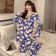 Autumn Winter Korean Plaid Girls Pajamas Two Piece Set Cute Long Sleeve Casual Sleepwear For Women Loose Nightwear Homewear Suit