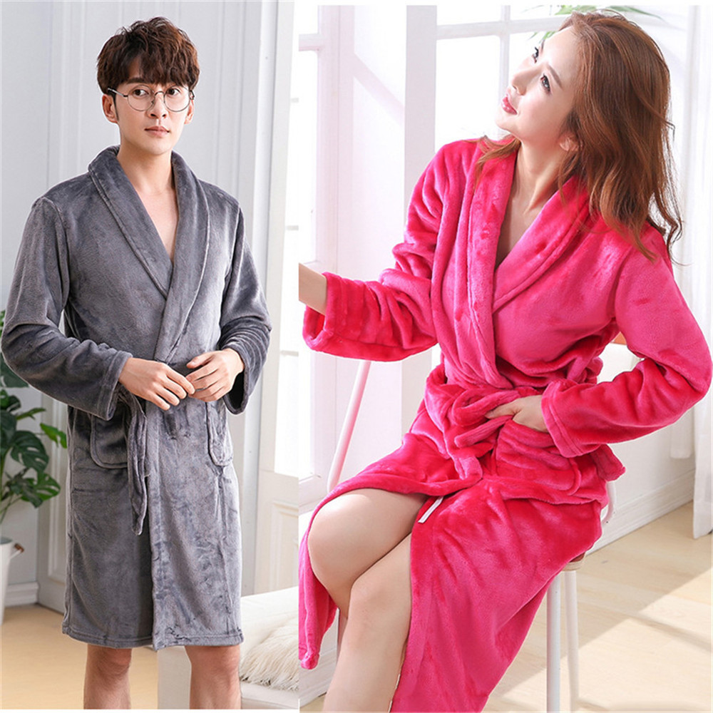 Winter Flannel Robe For Couple Loose Oversize 3XL Warm Kimono Bathrobe Long Sleeve V-neck Sleepwear Turn-down Collar Nightgown
