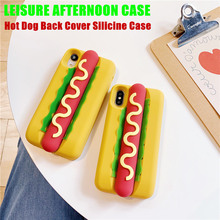 Anti-knock Cute Rubber Case For iPhone X XS XR Max Simulation 3D Lifelike Hot Dog Silicone Soft Cases 6s 7 8 Plus
