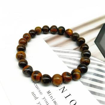 Tiger Eye Bracelet For Men 8MM Nature Stone Beads Charm Bracelet Delicated Hand Fashion Jewelry Gift For Friend Wholesale image