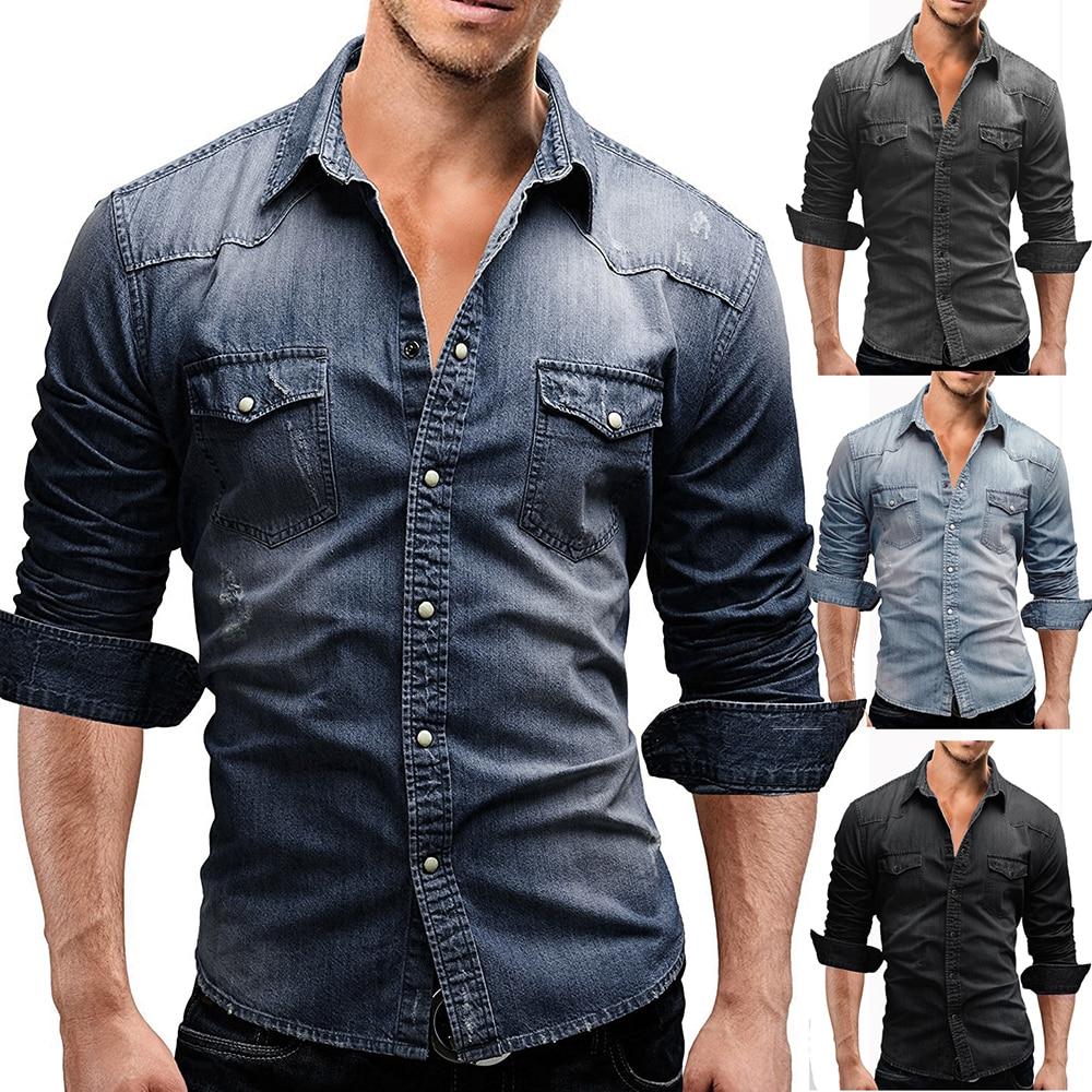 Brand Denim Shirt Men Slim Fit Long Sleeve Casual Shirts 2020 Korean Washed Double Pocket Jean Blouse Camisa Masculina Asian Siz