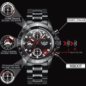 Image 3 - Lige relógio esportivo luxuoso de quartzo, masculino totalmente em aço à prova dágua preto