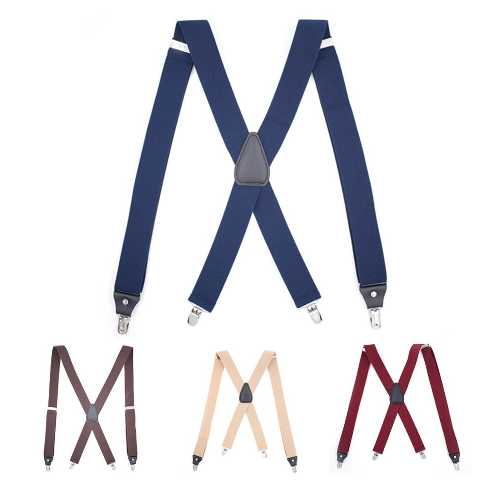4 Clips Elasticity Suspenders Adijustable X-Shape Suspender Belt Adult Shirt Stay Braces Vintage Men Suit Trousers Shirt Holder