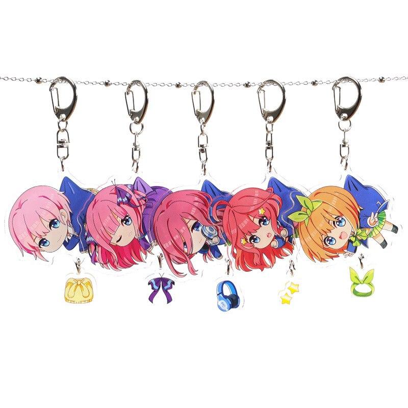 Anime Quintessential Quintuplets Acrylic Keychain Nakano Ichika Nino Miku Yotsuba Itsuki Cute Funny Cartoon Pendant Keyrings Toy