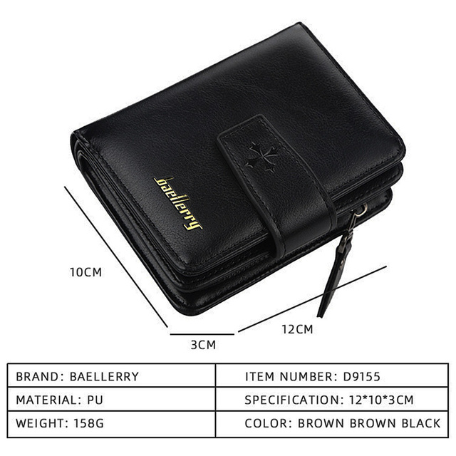 New Business Men Wallets Zipper Card Holder High Quality Male Purse New PU Leather Vintage Coin Holder Men Wallets 4