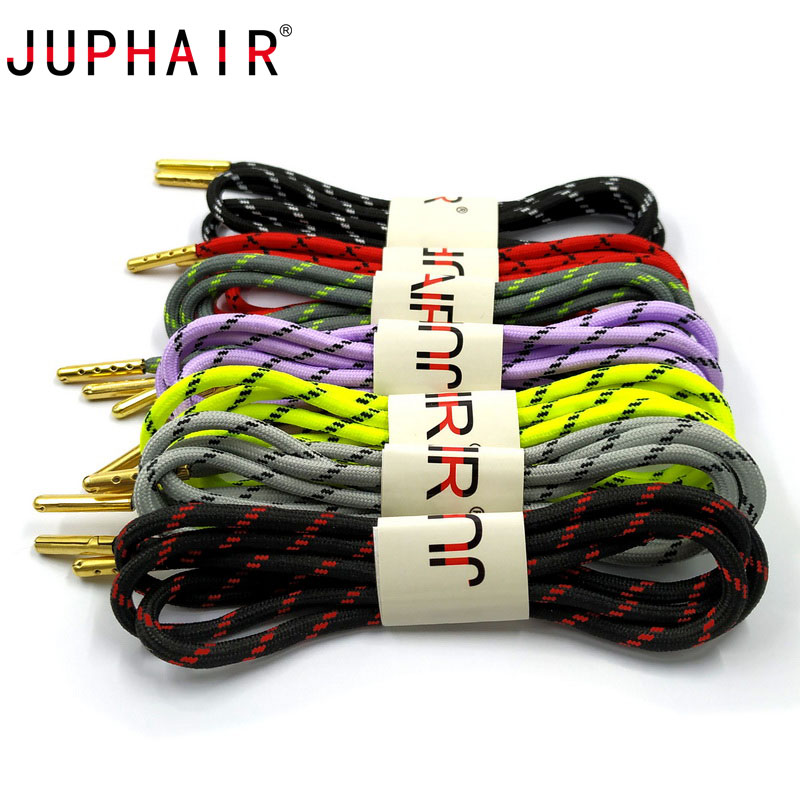 JUPHAIR Striped Wave Point Round Shoelaces with Gold Metal Tip Outdoor Sports Hiking Shoe Laces Rope Strings Sneakers Boot Laces