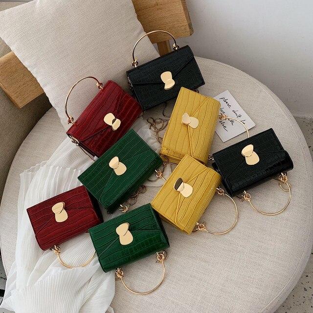 Sacs à bandoulière en cuir d'unité centrale de modèle de pierre pour des femmes 2020 Mini sac de messager d'épaule avec la poignée en métal fourre-tout de voyage de dame 4