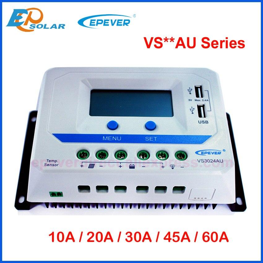 Где купить EPever ШИМ 10A/20A/30A/45A/60A Солнечный контроллер заряда VS-AU серии Подсветка ЖК-дисплей двойной USB PV зарядное устройство регулятор для солнечного дома