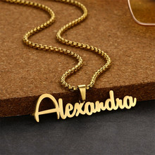 Pendant Stainless-Steel Personalized Letter Necklace Gift Customized Name Big-Nameplate