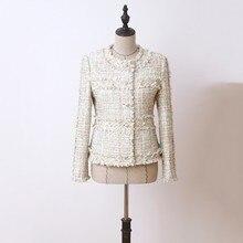 Spring Women Beading Tassel Tweed Jackets Korean Slim Fit Long Sleeve Short Coat